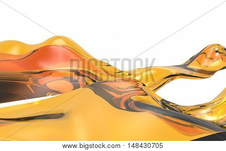 Abstract wave orange on white background. Futuristic shape. 3D Illustration.