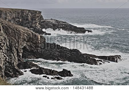 Coastline of Mizen Head in stormy weather County Cork Ireland - HDR