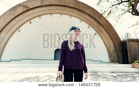 Woman Sitting Listening Music Headphone Concept
