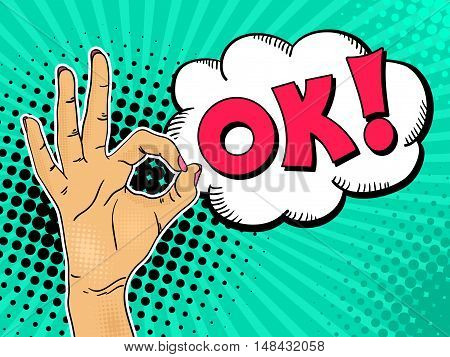 Female hand shows OK sign with speech bubble and lettering. Vector background in comic retro pop art style.