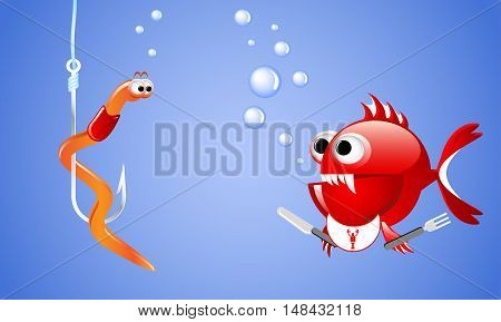 Cartoon evil red fish looking at a worm on a fishing hook and wants to eat it.  Illustrations for printed materials and backgrounds.