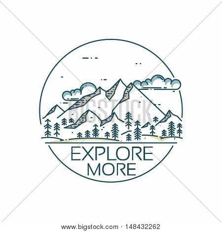 Mountains exploration card. Round composition with text Explore more. Vector linear mountains, clouds and forest.