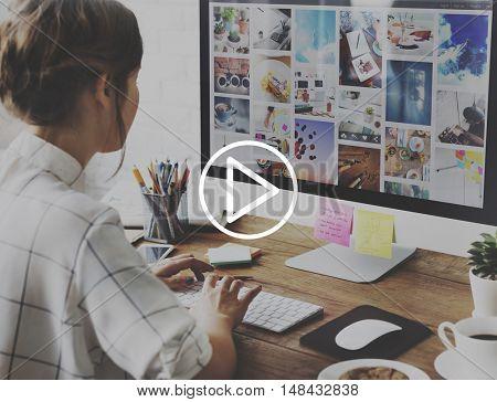 Play Icon Start Beginning Forward Multimedia Concept