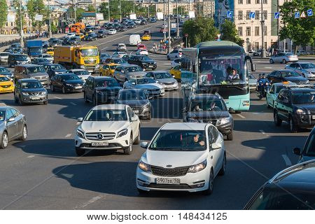 Moscow, Russia -May 14.2016. A Dense traffic on one of the central streets