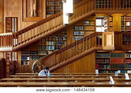 Belgium, Leuven - SEPTEMBER 05, 2014: Historical Library in Leuven. National treasure of Belgium since 1987.