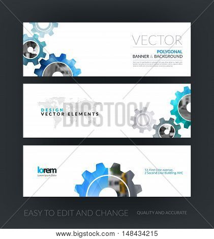 Vector set of modern horizontal website banners with blue gear and polygonal background with overlap effect for engineering, construction. Web headers design. Creative corporate vector flyer.