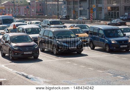 Moscow, Russia -September 21. 2015. A Dense traffic on one of the central streets