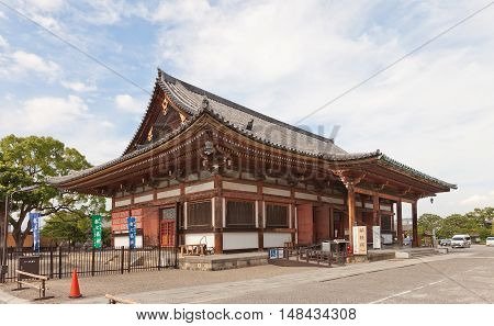 KYOTO JAPAN - JULY 23 2016: Jikido Hall (circa 1930) of Toji Temple in Kyoto. Originally was the temple refectory now serves as souvenirs shop and storage room