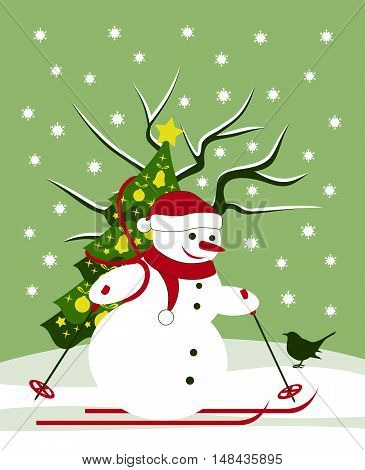 vector snowman skier carrying christmas tree and bird in snowy landscape