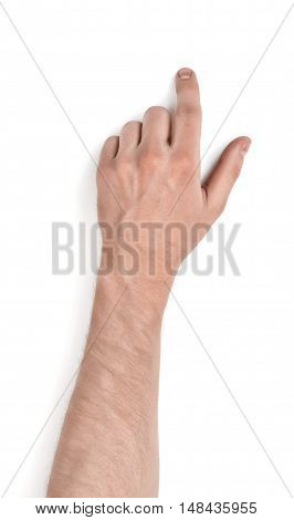 Close up view of a man's hand touching something with his forefinger isolated on white background. Place for touchscreen. Pointing at something. Showing gesture. Body language.