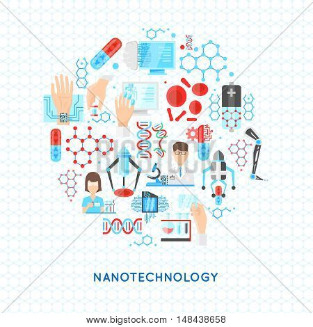 Nanotechnology round design with structures from particles dna and drugs scientific laboratory on textural background vector illustration