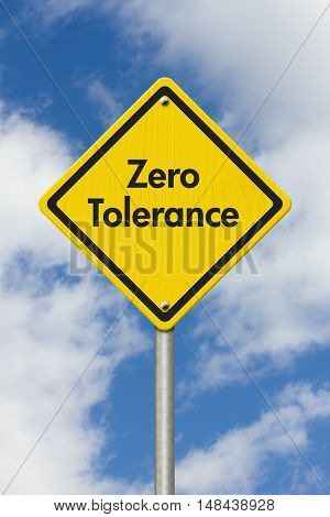 Zero Tolerance yellow warning highway road sign Yellow warning highway sign with words Zero Tolerance with sky background 3D Illustration