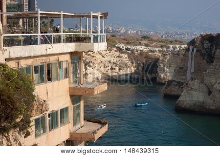 Old restaurant in Beirut, with views of the Pigeon Rocks. Lebanon.