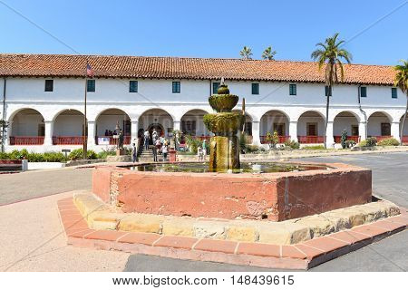SANTA BARBARA, CALIFORNIA - SEPTEMBER 21, 2016: Museum Entrance Santa Barbara Mission. The 10th mission was founded on 12/4/1786, the feast day of Saint Barbara.