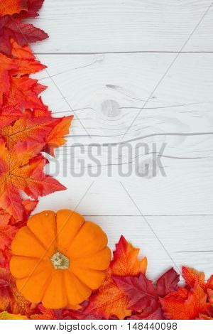 Autumn Time Background Some fall leaves and a pumpkin on weathered wood with copy space for your message