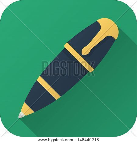 Vector illustration. Square shape icon in flat design. Toy ball pen in simple design with long shadow. Icon vector size 1024 corner radius 180