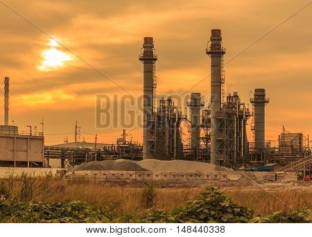 The Power plants in the daytime on industrial area in Thailand.