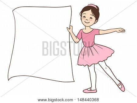 Vector hand drawn cartoon character illustration of a smiling cute little Asian ballerina girl holding a blank sign template for message display wearing ballet outfit with leotard and tutu.
