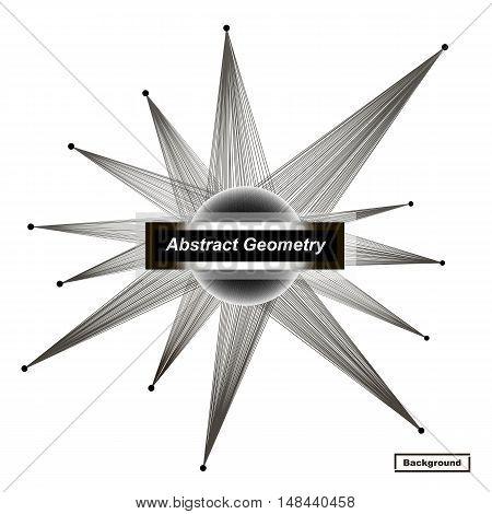 Abstract Concept. Minimalistic Fashion Backdrop Design. Black, White Space Star Icon. Explosion Ligh