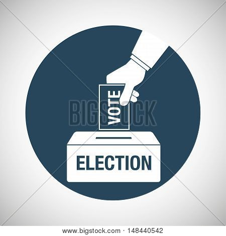 Election Day Concept Icon. Hand Putting Voting Paper In The Ballot Box.