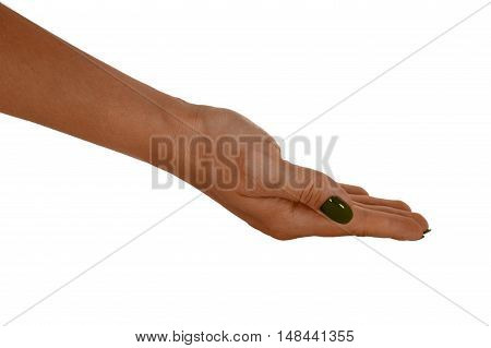 Open hand giving anything, natural female's skin, yellow manicure. Isolated on white background.