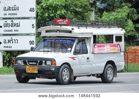 CHIANGMAI THAILAND -AUGUST 18 2016: White Pick up truck taxi chiangmai Service between Doisaket and Sankampeng district. On road no.1001 8 km from Chiangmai city.