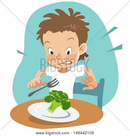 Vector hand drawn cartoon character illustration of a boy sitting at table with a plate of broccoli looking shocked and disgusted. Picky eater healthy food and parenting concept design element.