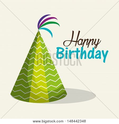 hat green happy birthday party graphic vector illustration eps 10
