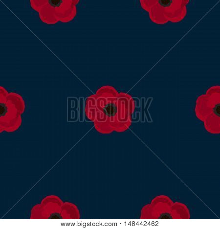Floral seamless pattern with red poppies on dark background