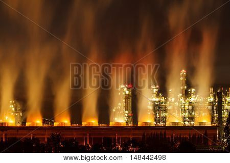 The Steam power plants at night beautiful.