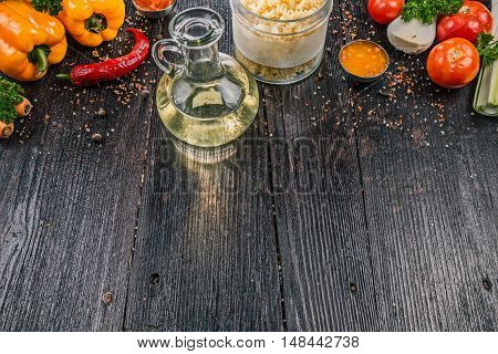 Fusilli pasta with fresh vegetable  on the dark wooden table