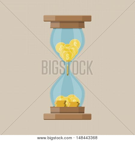 Old style hourglass clocks with dollar coins inside. Time is money concept. vector illustration. flat style clocks