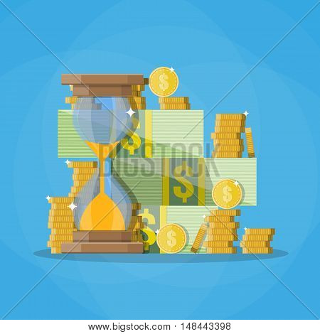 Old style hourglass clocks with dollar coins stacks. Time is money concept. vector illustration. flat style clocks