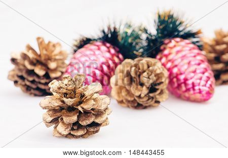 Christmas decorations - balls pine cones and green branch on white background
