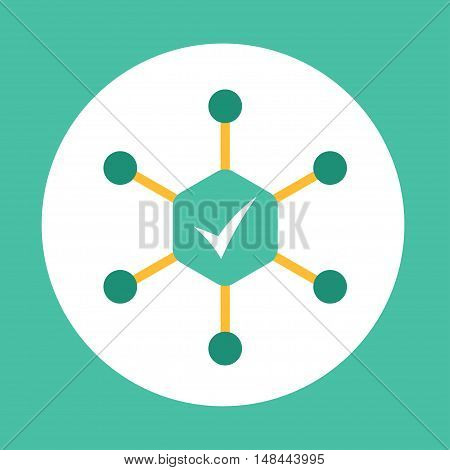 Modern color icon design. Complex approach vector bright sign on round template for web page or application