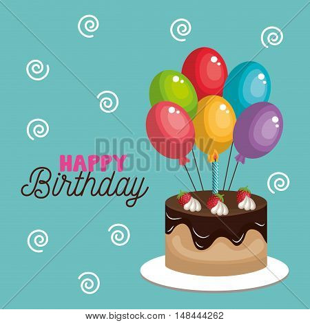 card cake and balloons happy birthday graphic vector illustration eps 10