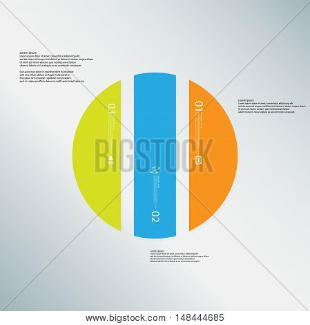 Circle Illustration Template Consists Of Three Color Parts On Light-blue Background