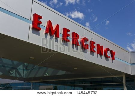 Red Emergency Entrance Sign for a Local Hospital II