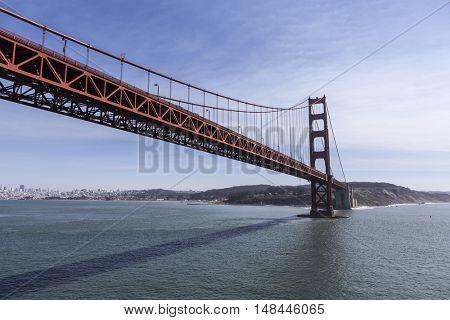 Low aerial of the Golden Gate Bridge in San Francisco, California.