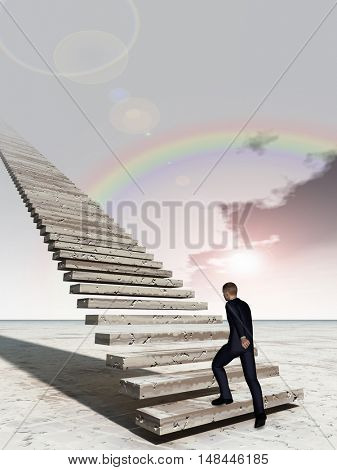 Concept conceptual 3D illustration business man walking or climbing stair on rainbow sky background with clouds