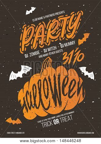 Halloween party. Halloween elements for your design. Silhouette with lettering. Poster for party helloween