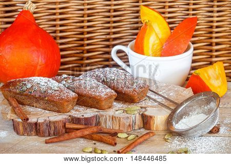 Homemade Pumpkin Financier Cake With Cinnamon And Cardamom. Autumn Spiced Cakes. A Rustic Style. Sel