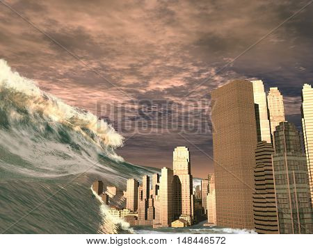 3d illustration of a huge tsunami sweeping city