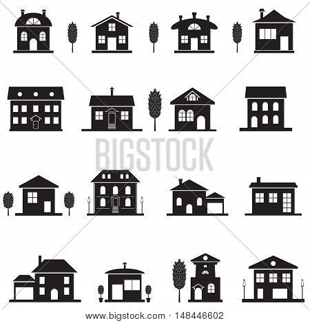 Set cottage icons. Black isolated house silhouette. Vector illustration