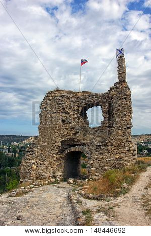 ruins of old ancient turkish stone fortress in Crimea near Sevastopol