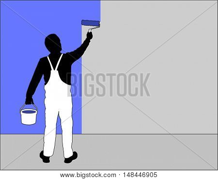 man painting wall with paint roller - vector