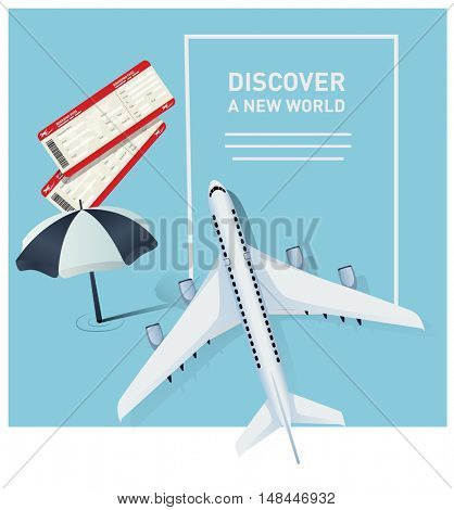 Travel banner template with a plane illustration