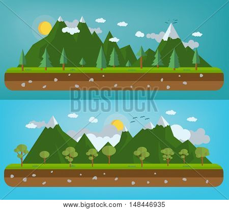 Flat natural illustration with mountains and forests