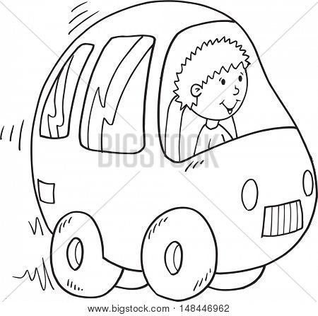 Doodle Car Vector Illustration Art