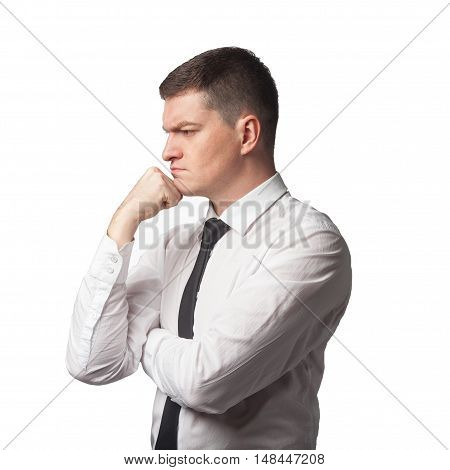 Thinking Men In White Shirt Black Tie With Hand On Chin On White Isolated Background
